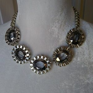 Modern Silver & Gray Glass Necklace